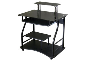 Black Glass Computer Cart