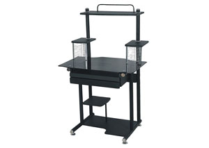 Black Glass Top Computer Cart