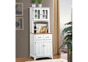 White/Cherry Tall Microwave Cart
