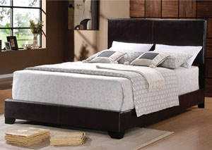 Dark Brown King Faux Leather Bed