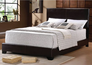 Dark Brown Queen Faux Leather Bed