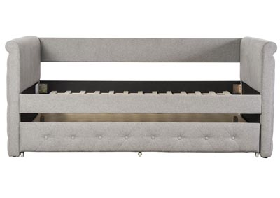 Grey Tufted Day Bed w/Trundle