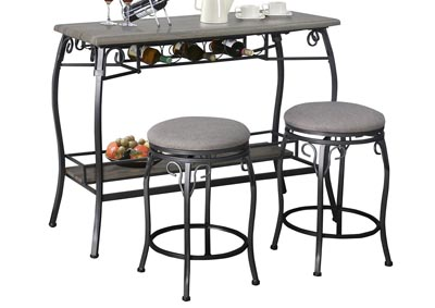 Grey Bar Table & 2 Stools