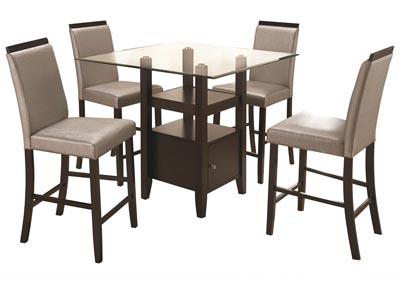 Cerise Cappuccino 5 Piece Counter Height Dining Set