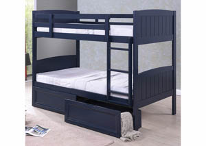 Twin/Twin Blue Wood Bunk Bed