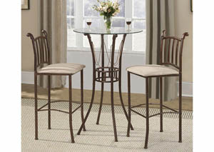 Walnut 3pc Bistro Bar Set