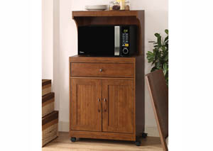 Oak Microwave Cart