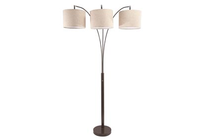 Grey Shade/Coffee Base Floor Lamp