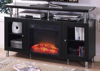Felix Black Plasma TV Stand w/Electrical Fireplace
