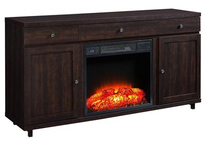 Leko Mahogany TV Stand w/Convertible Electric Fireplace