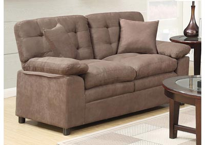 The Furniture Outlet Ny Buchannan Beige Microfiber Loveseat W Pillows