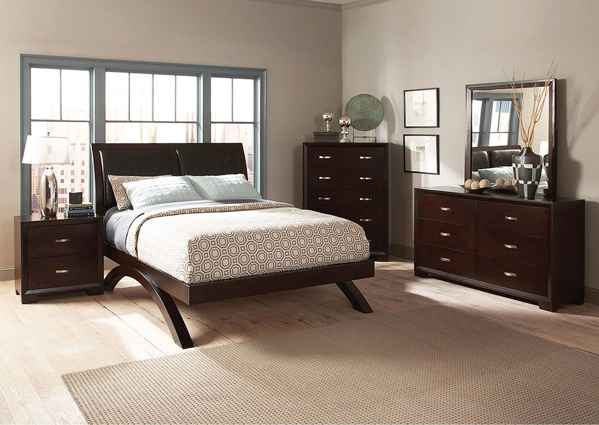 Queen Platform Bed w/ Dresser, Mirror, Drawer Chest and Nightstand,Homelegance