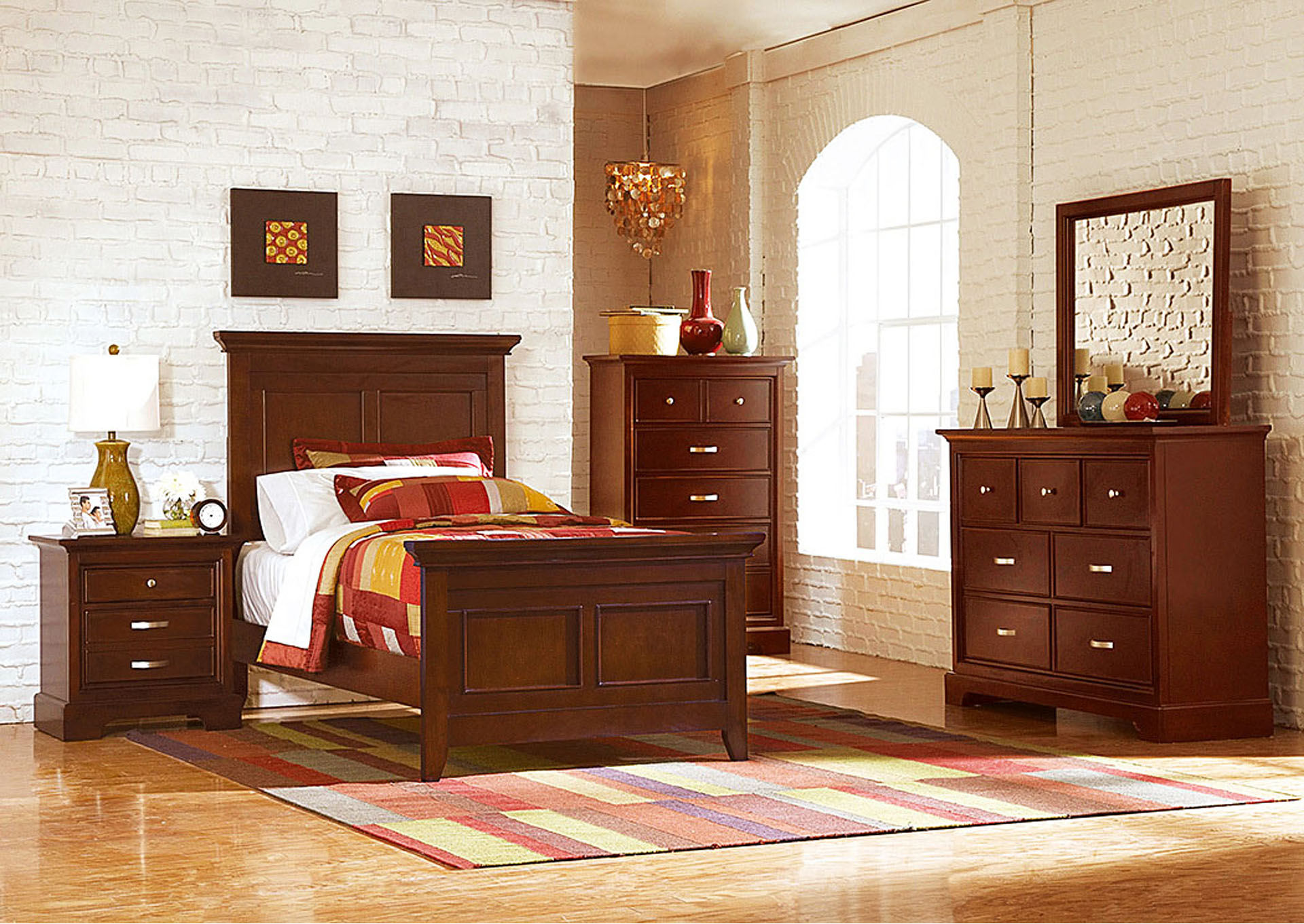 Glamour Espresso Twin Panel Bed w/ Dresser, Mirror, Drawer Chest and Nightstand,Homelegance