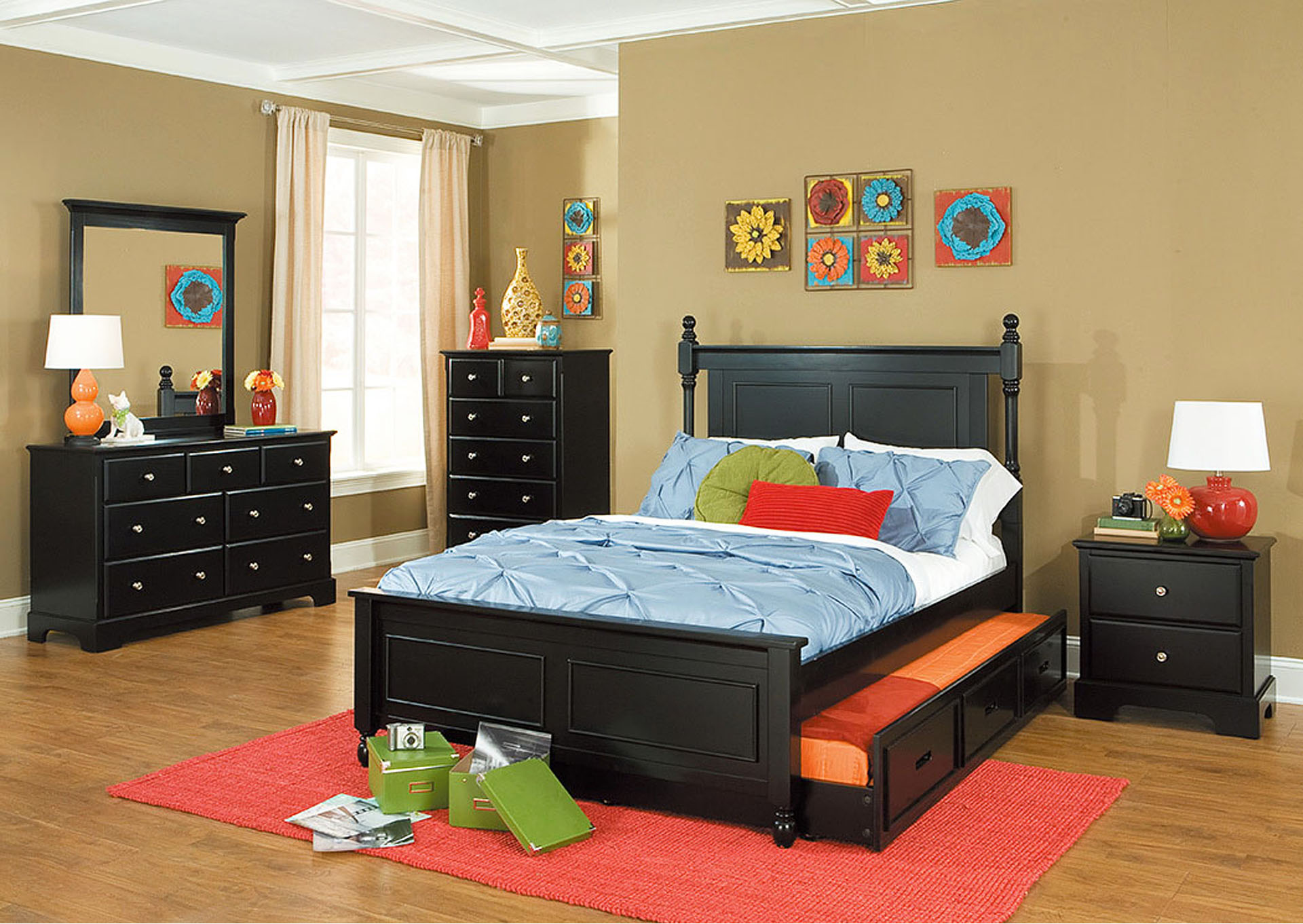 Morelle Black Full Captain's Platform Bed w/ Trundle,Homelegance