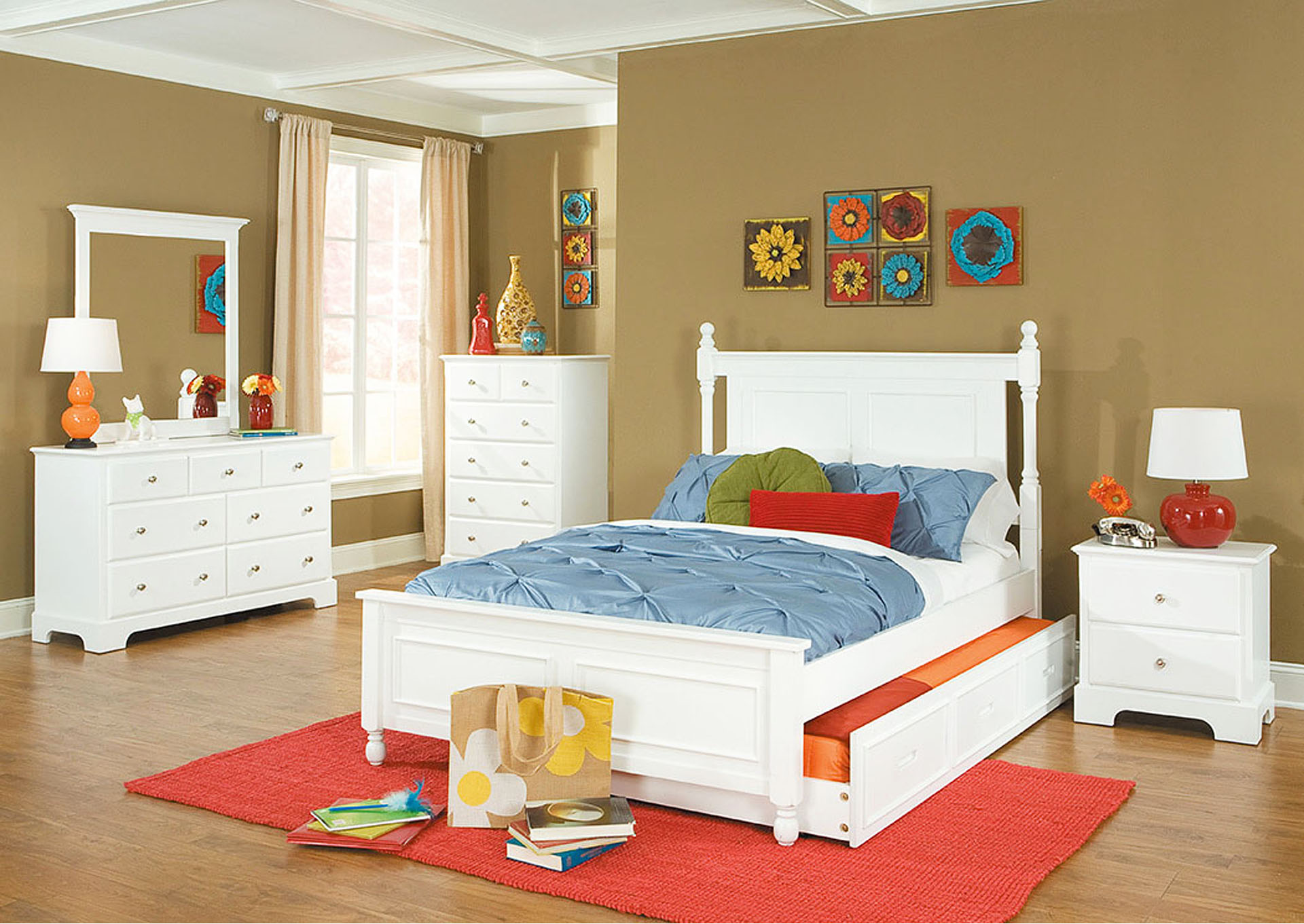 Morelle White Full Captain's Platform Bed w/ Trundle,Homelegance