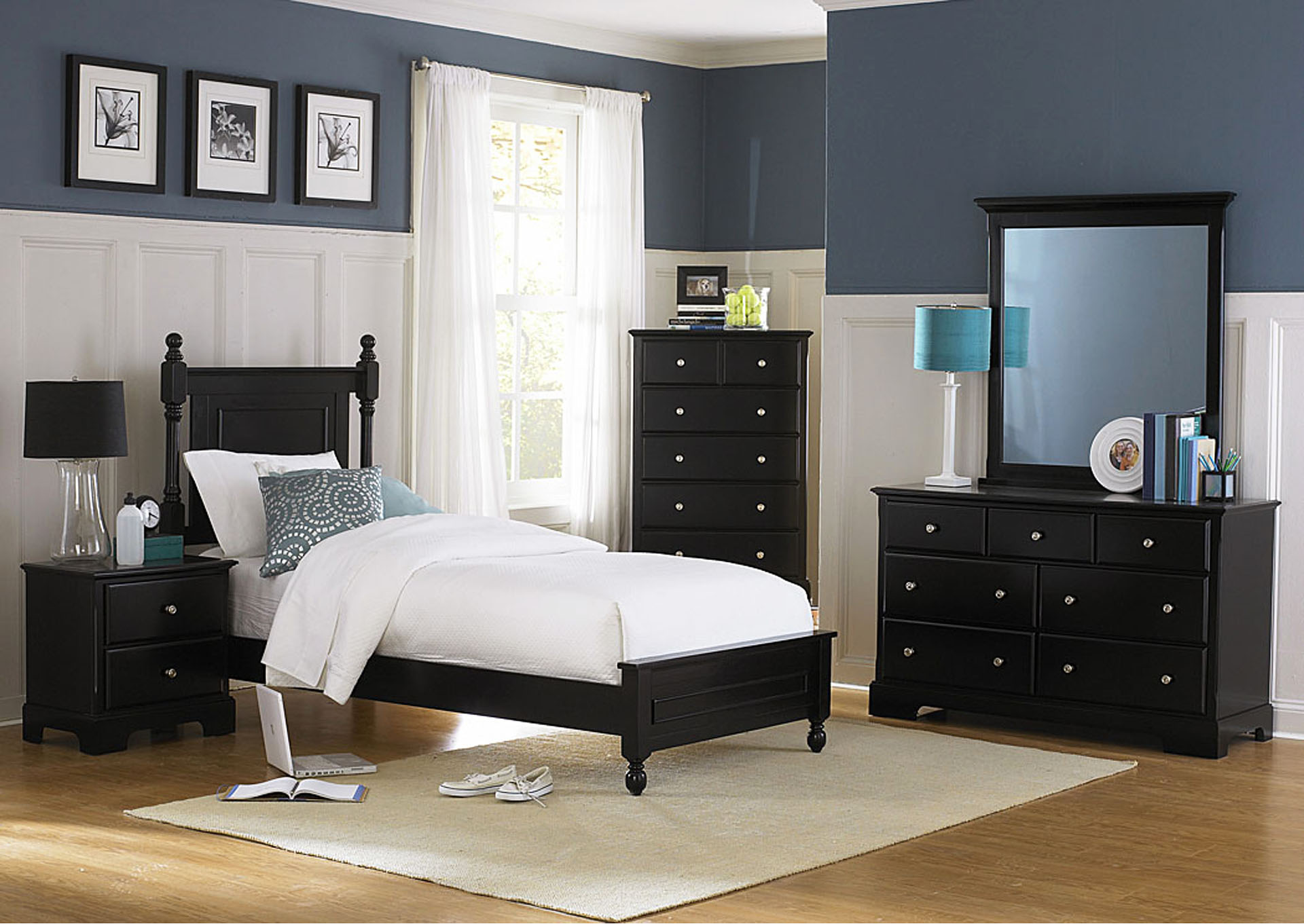 Morelle Black Twin Platform Bed w/ Dresser, Mirror, Drawer Chest and Nightstand,Homelegance