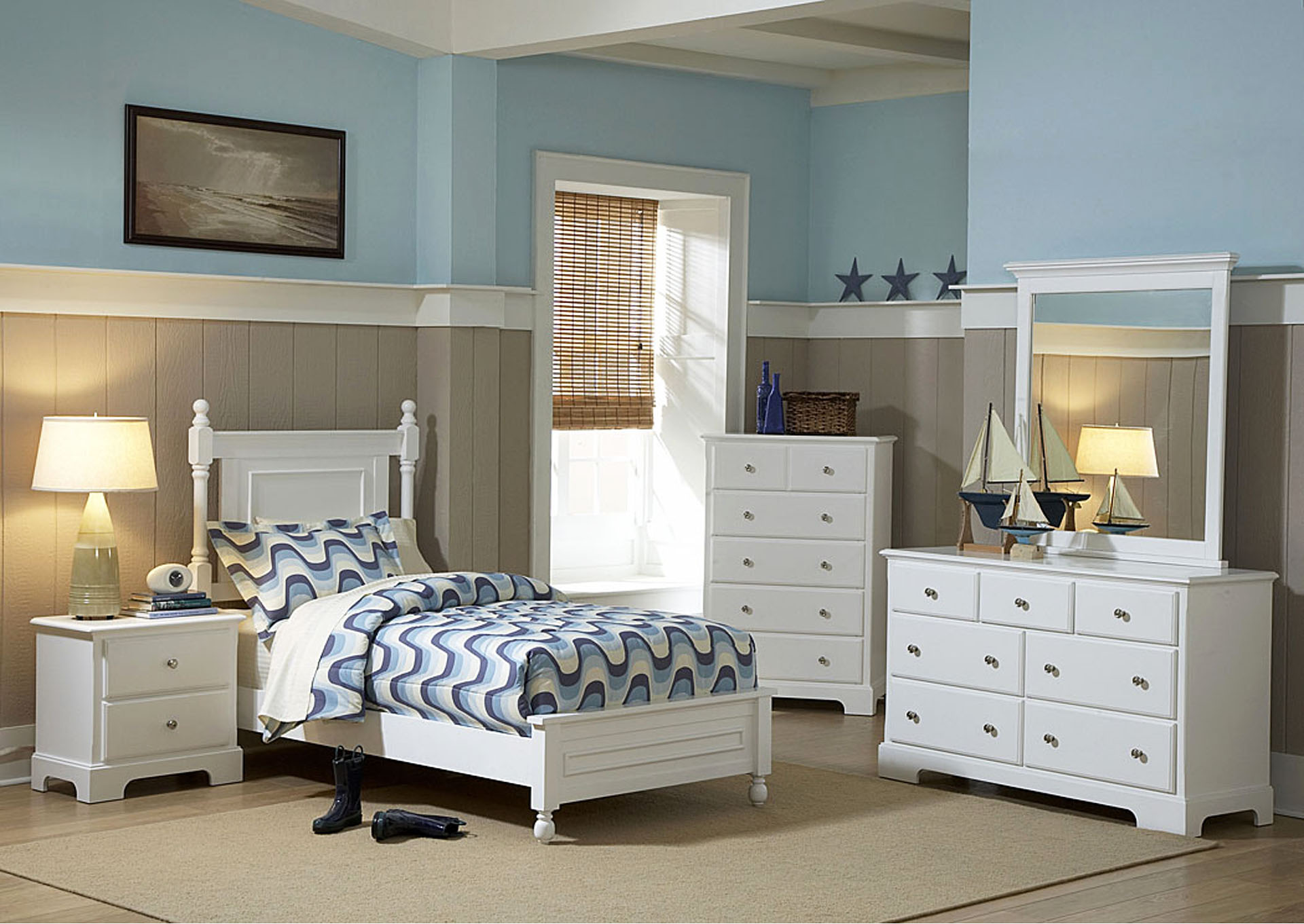 Morelle White Twin Platform Bed w/ Dresser, Mirror and Nightstand,Homelegance