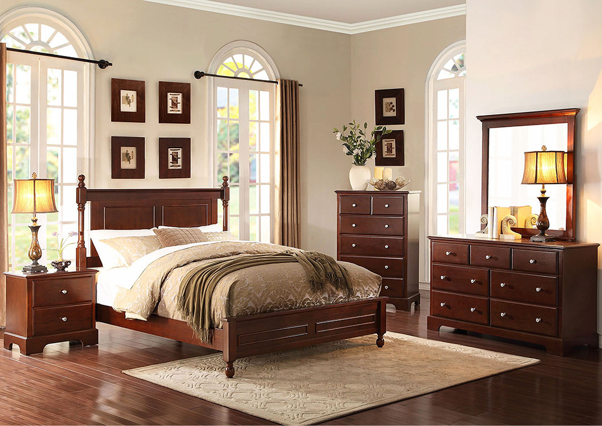 Morelle Cherry Queen Bed w/Dresser, Mirror, Drawer Chest & Nightstand,Homelegance