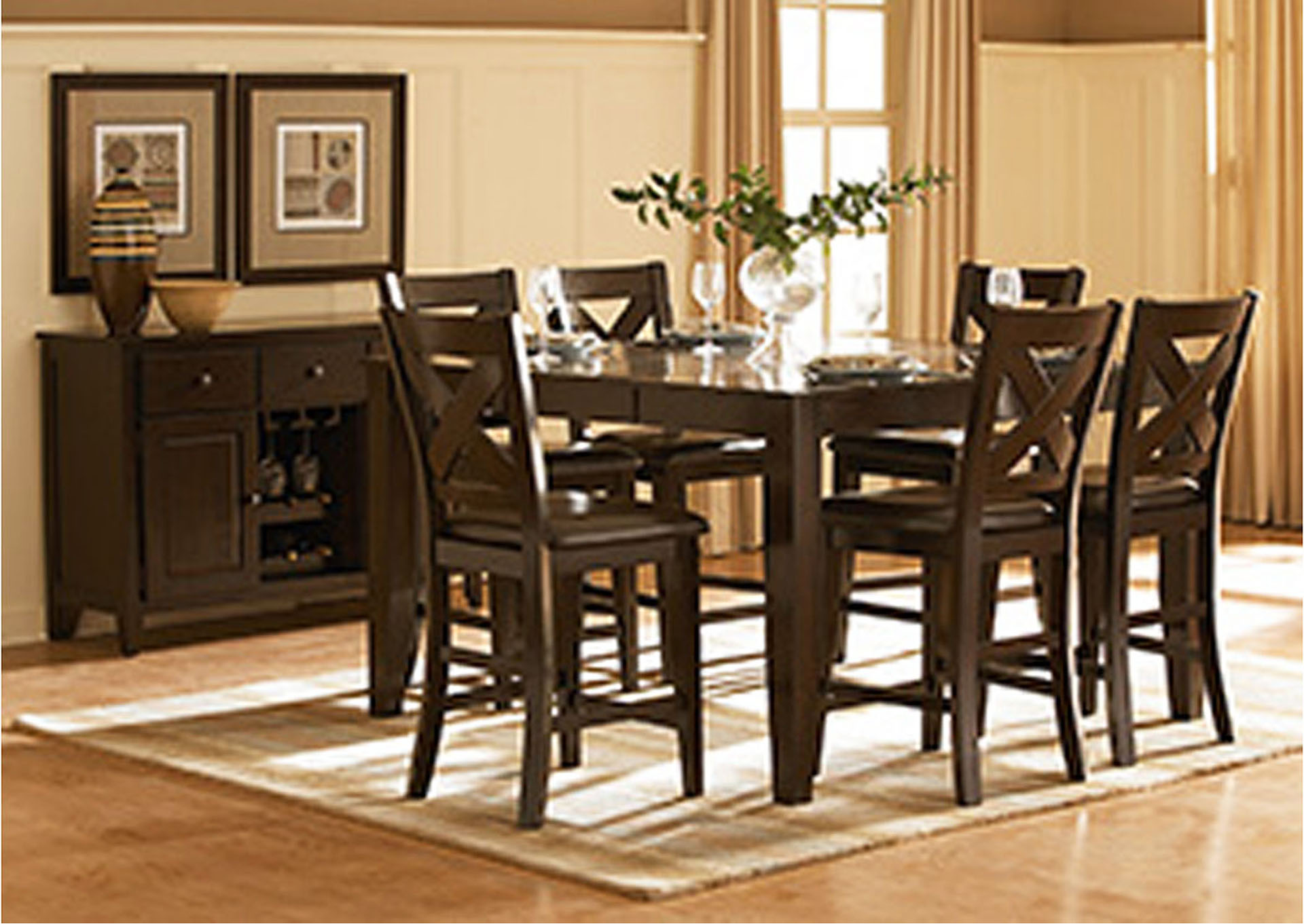 Crown Point Merlot Counter Height Dining Room Table w/4 Counter Height Chairs,Homelegance