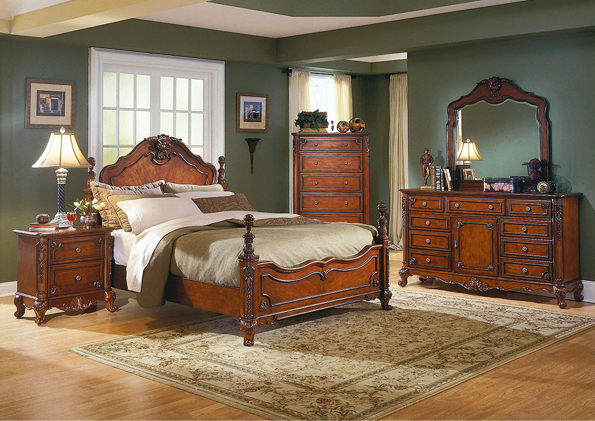 Madaleine Warm Cherry Queen Bed w/ Dresser, Mirror, Drawer Chest and Nightstand,Homelegance
