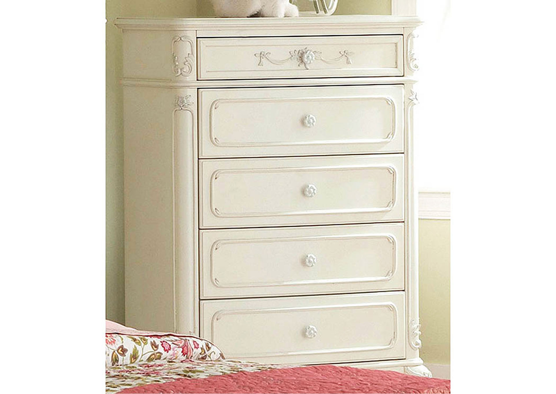 Cinderella White Drawer Chest,Homelegance