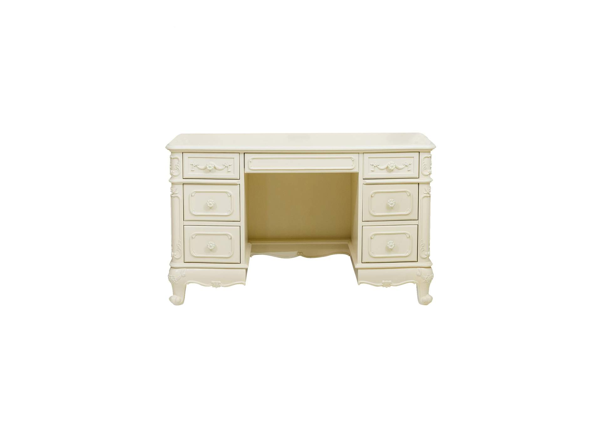 Cinderella White Writing Desk,Homelegance
