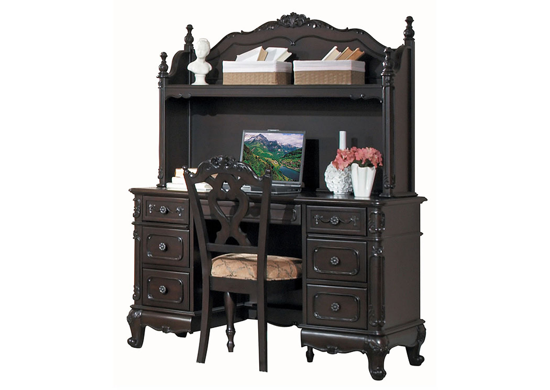 Cinderella Dark Cherry Writing Desk,Homelegance