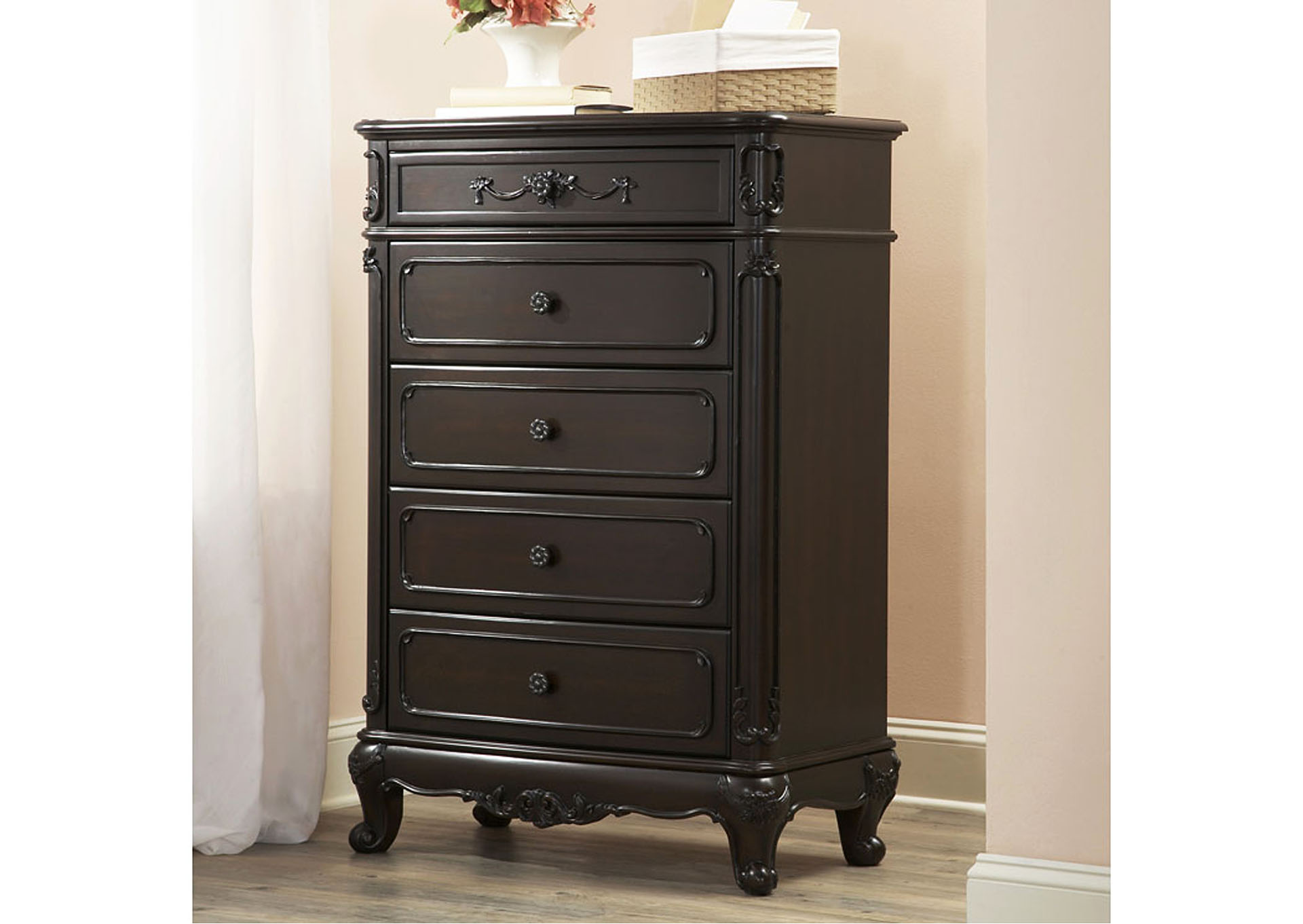 Cinderella Dark Cherry Drawer Chest,Homelegance