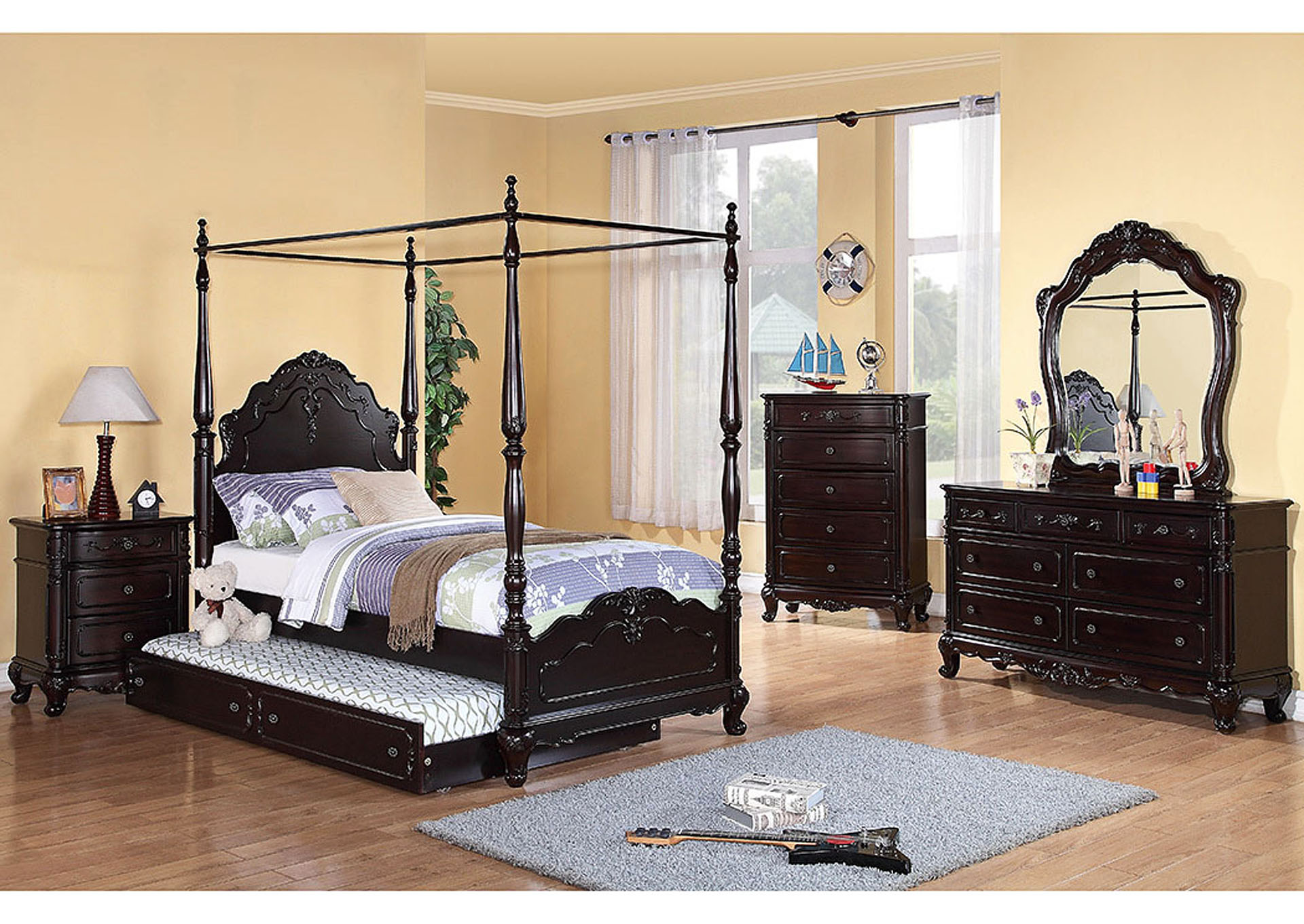Cinderella Dark Cherry Twin Canopy Poster Bed,Homelegance