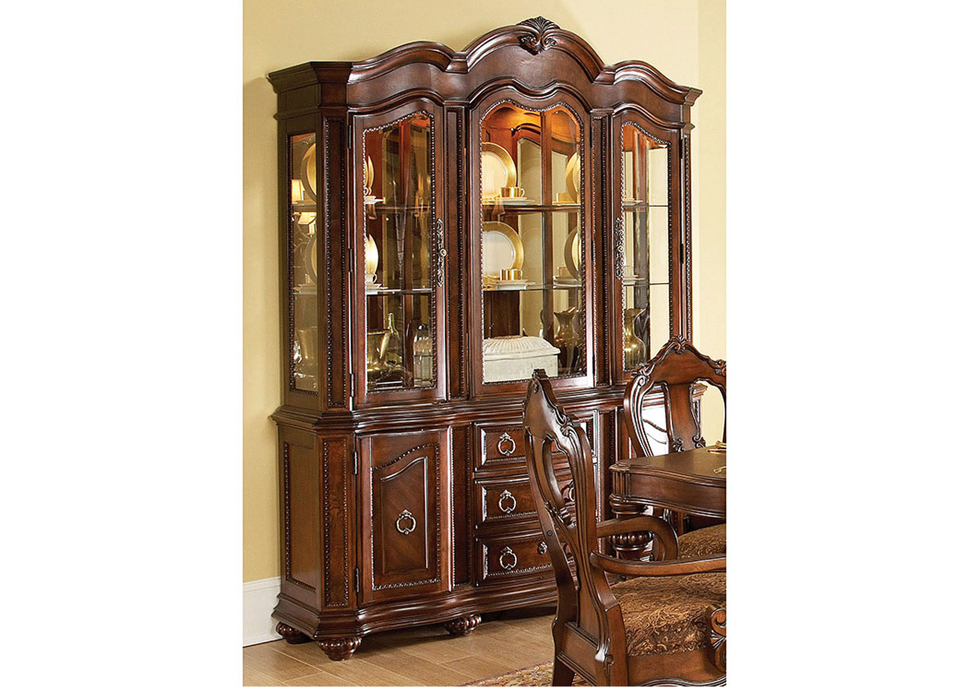 Prenzo Warm Brown Buffet and Hutch,Homelegance