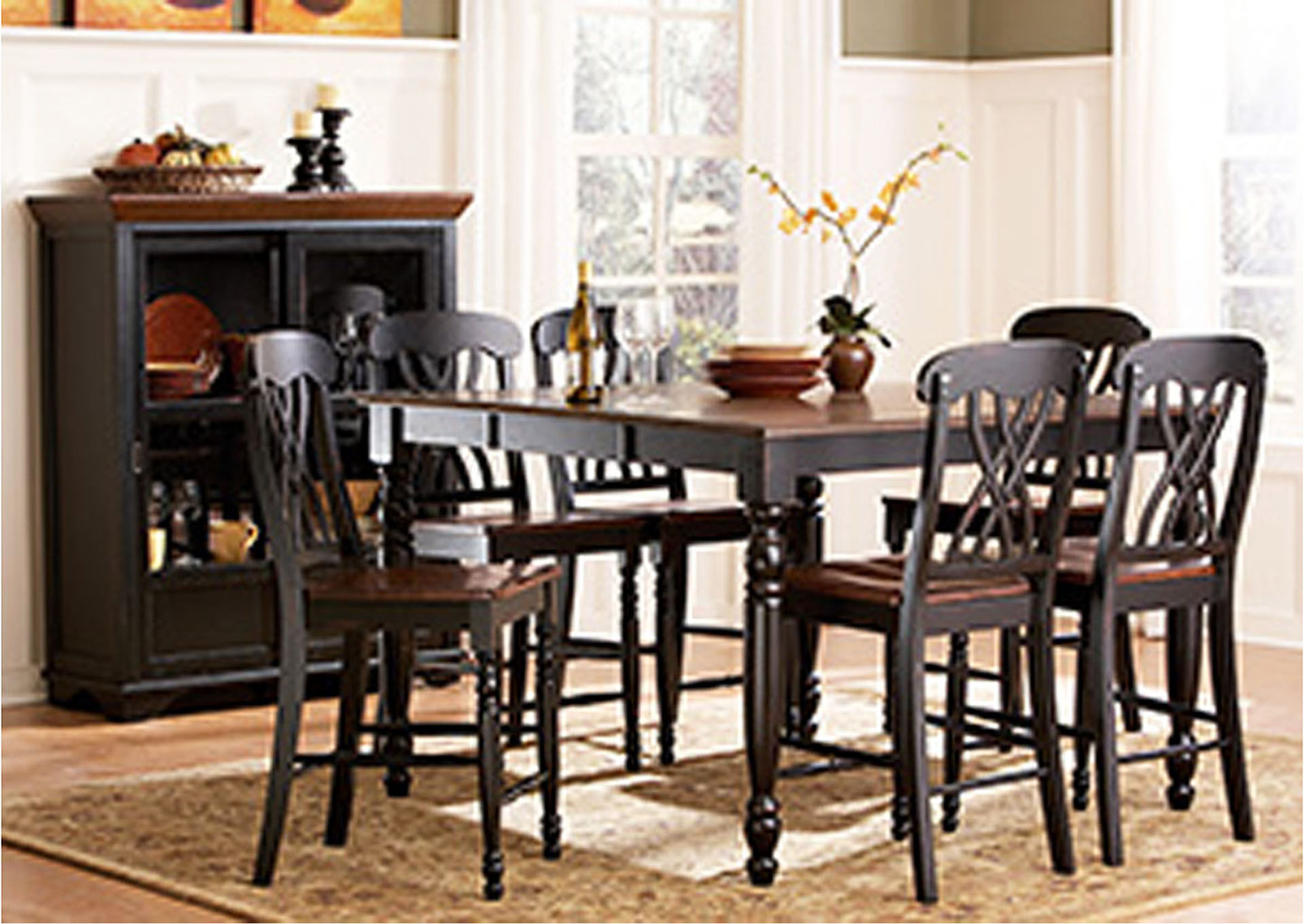 Ohana Black/Cherry Rectangular Counter Height Dining Room Table W/4 Counter  Height Chairs