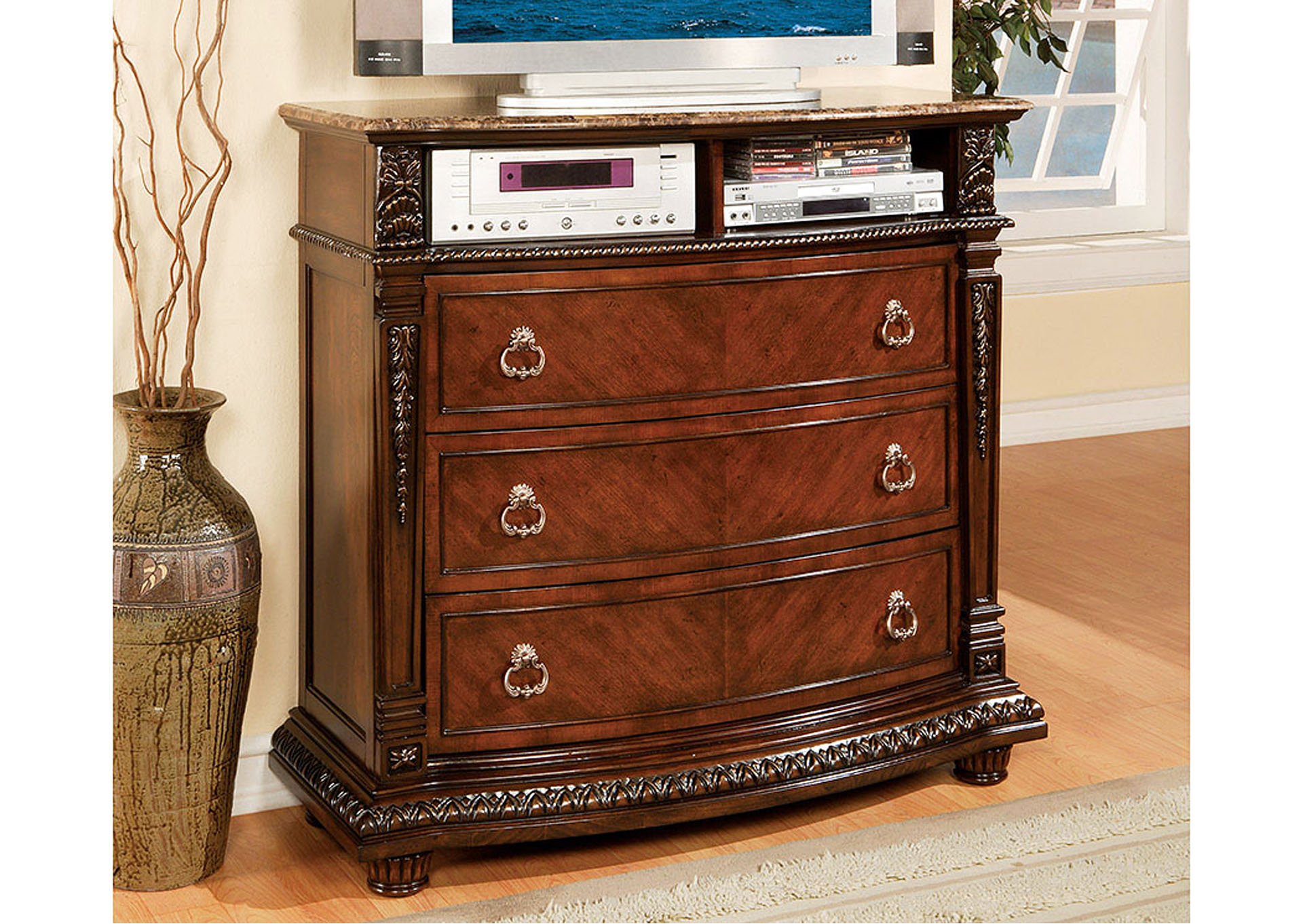 Palace Rich Brown TV Chest,Homelegance