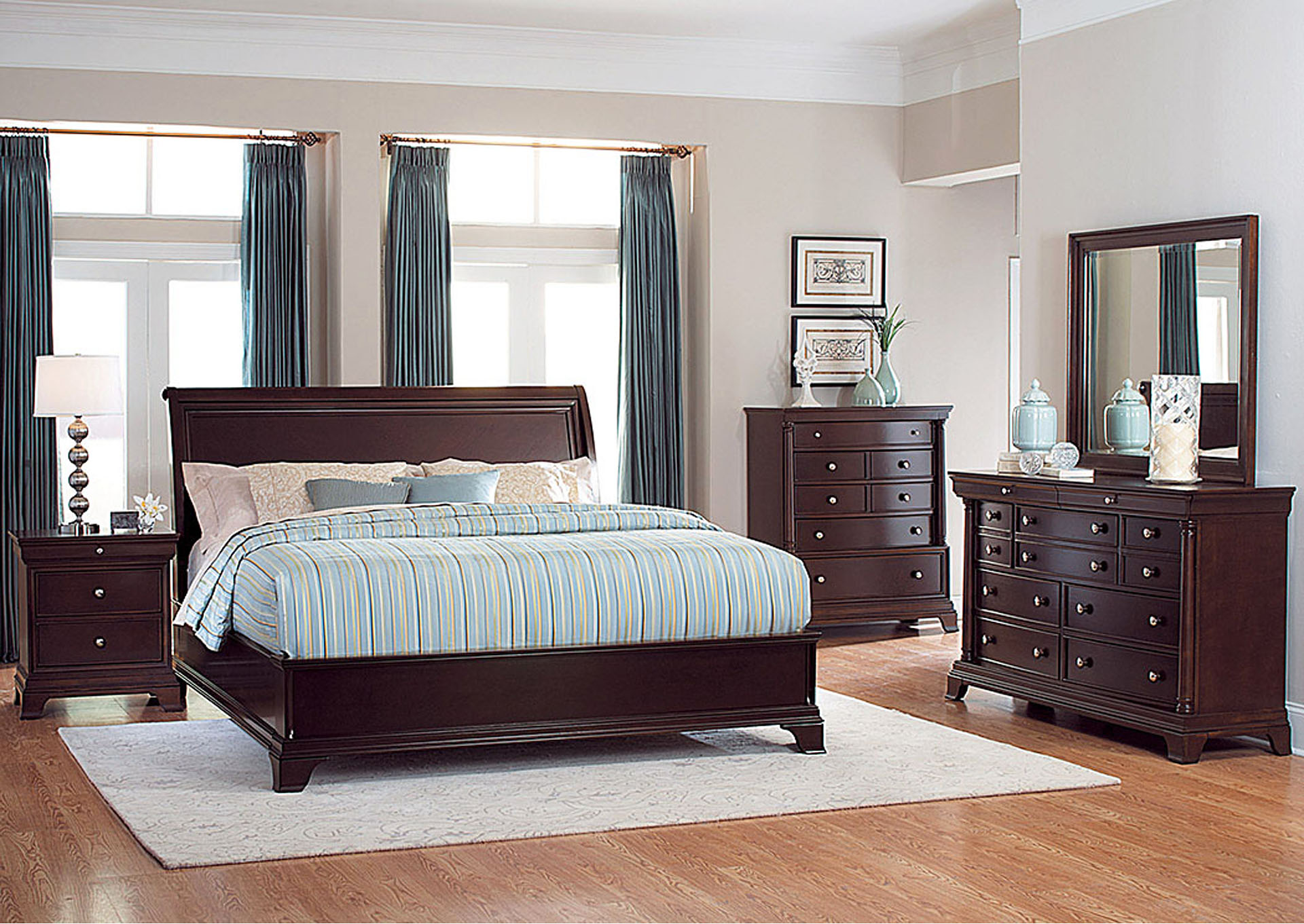 Inglewood Espresso Queen Panel Bed w/ Dresser, Rectangular Mirror, Drawer Chest and Nightstand,Homelegance