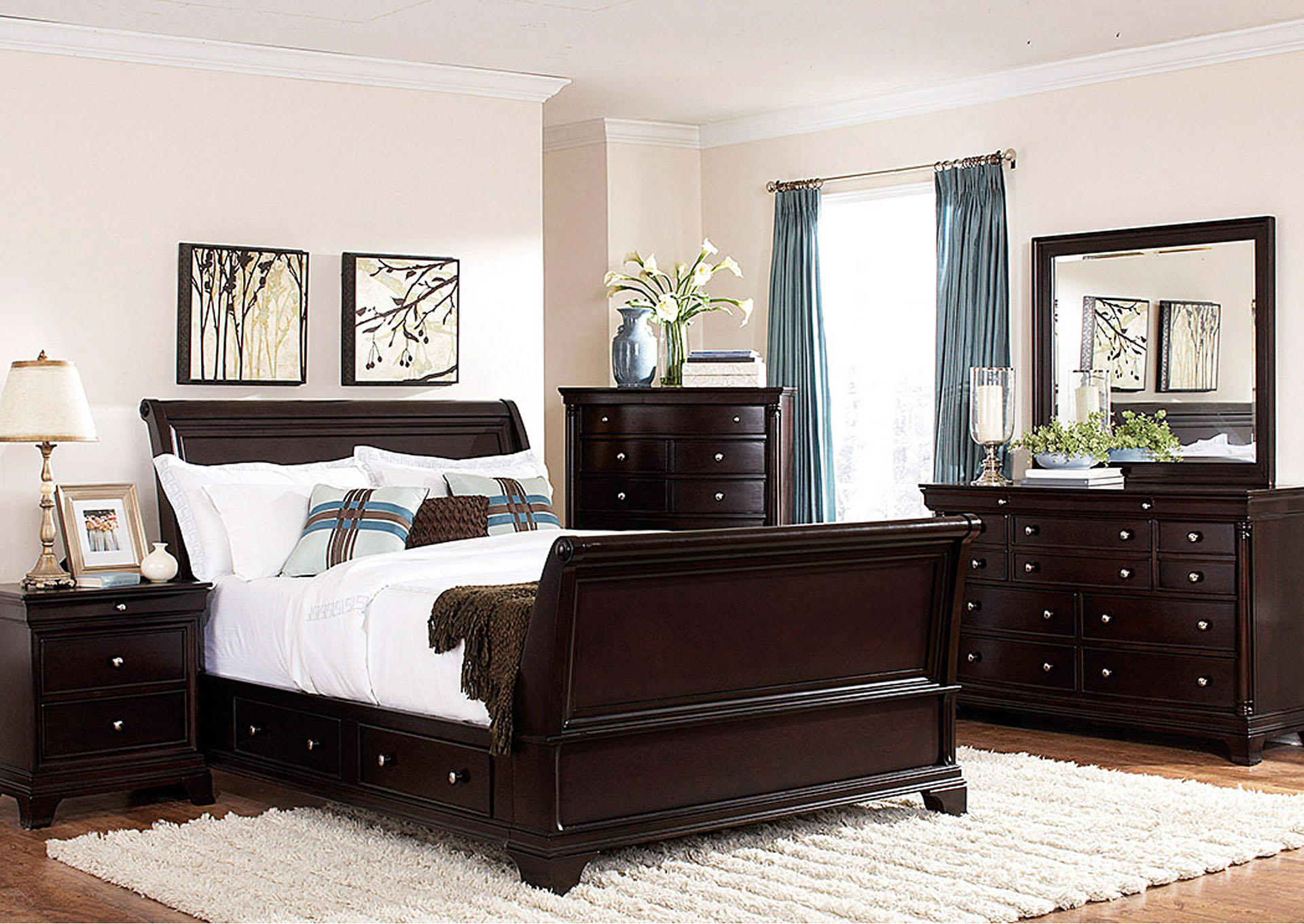 Inglewood Espresso Queen Sleigh Platform Bed w/ Dresser, Rectangular Mirror, Drawer Chest and Nightstand,Homelegance