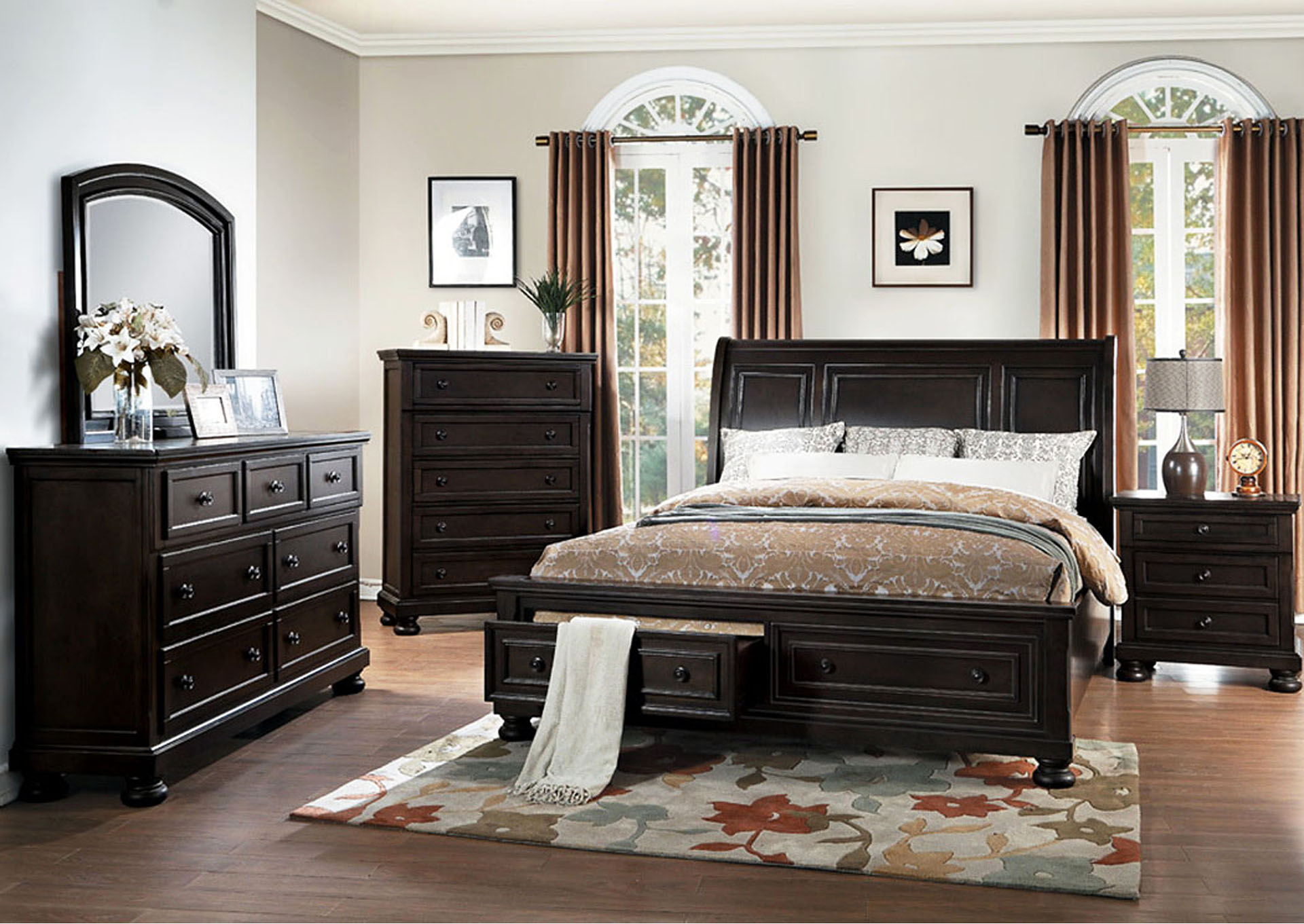 Queen Platform Bed w/Footboard Storage,Homelegance