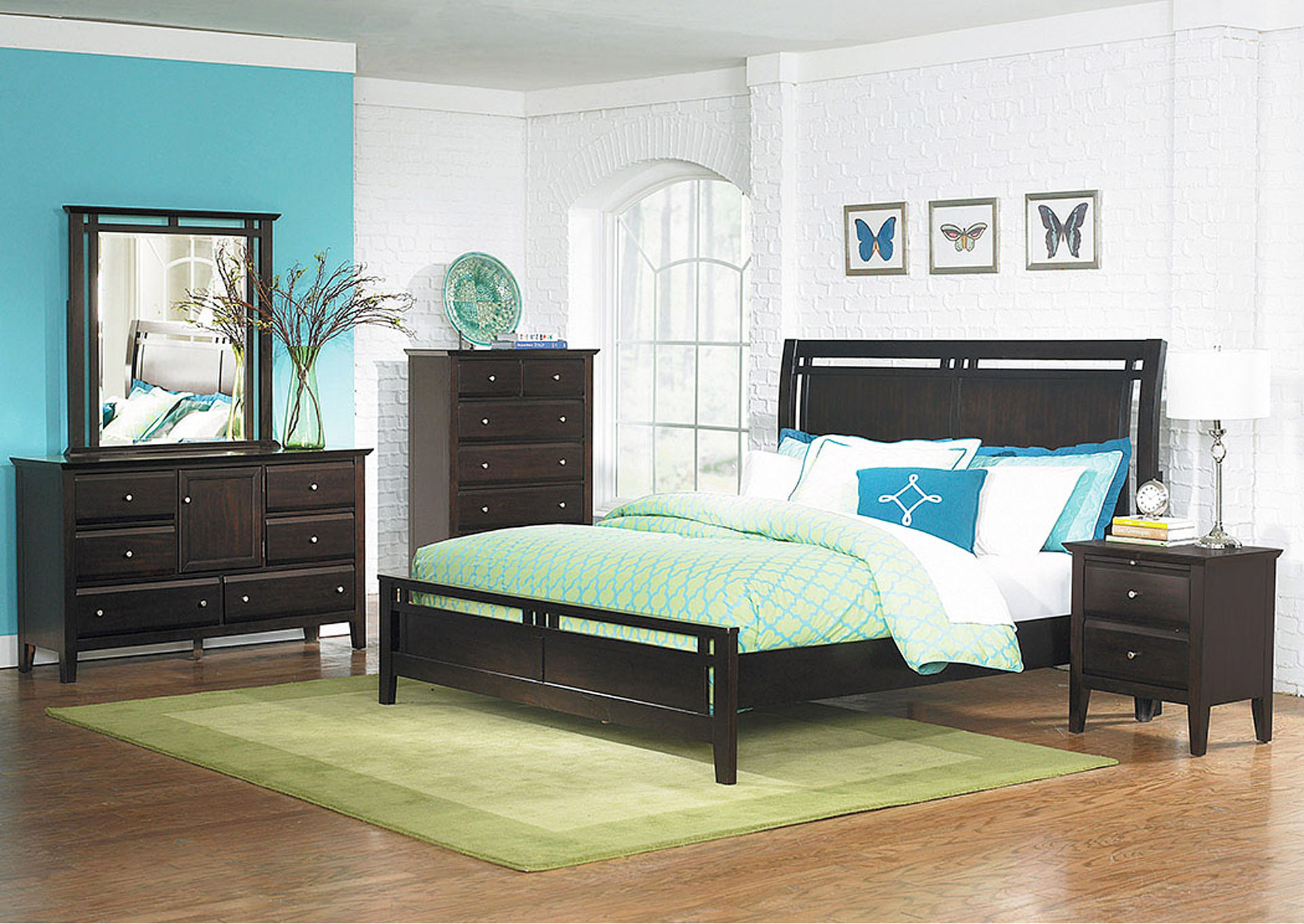 Verano Espresso Queen Panel Bed w/ Dresser, Mirror and 2 Nightstands,Homelegance