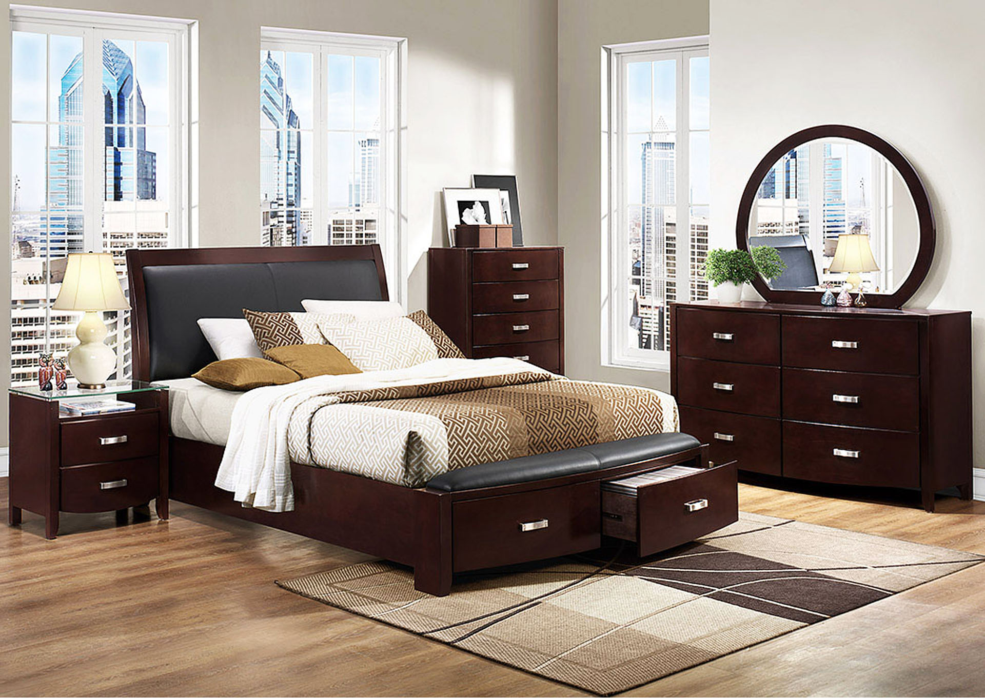 Lyric Dark Espresso Queen Bed w/ Front Bed Storages,Homelegance