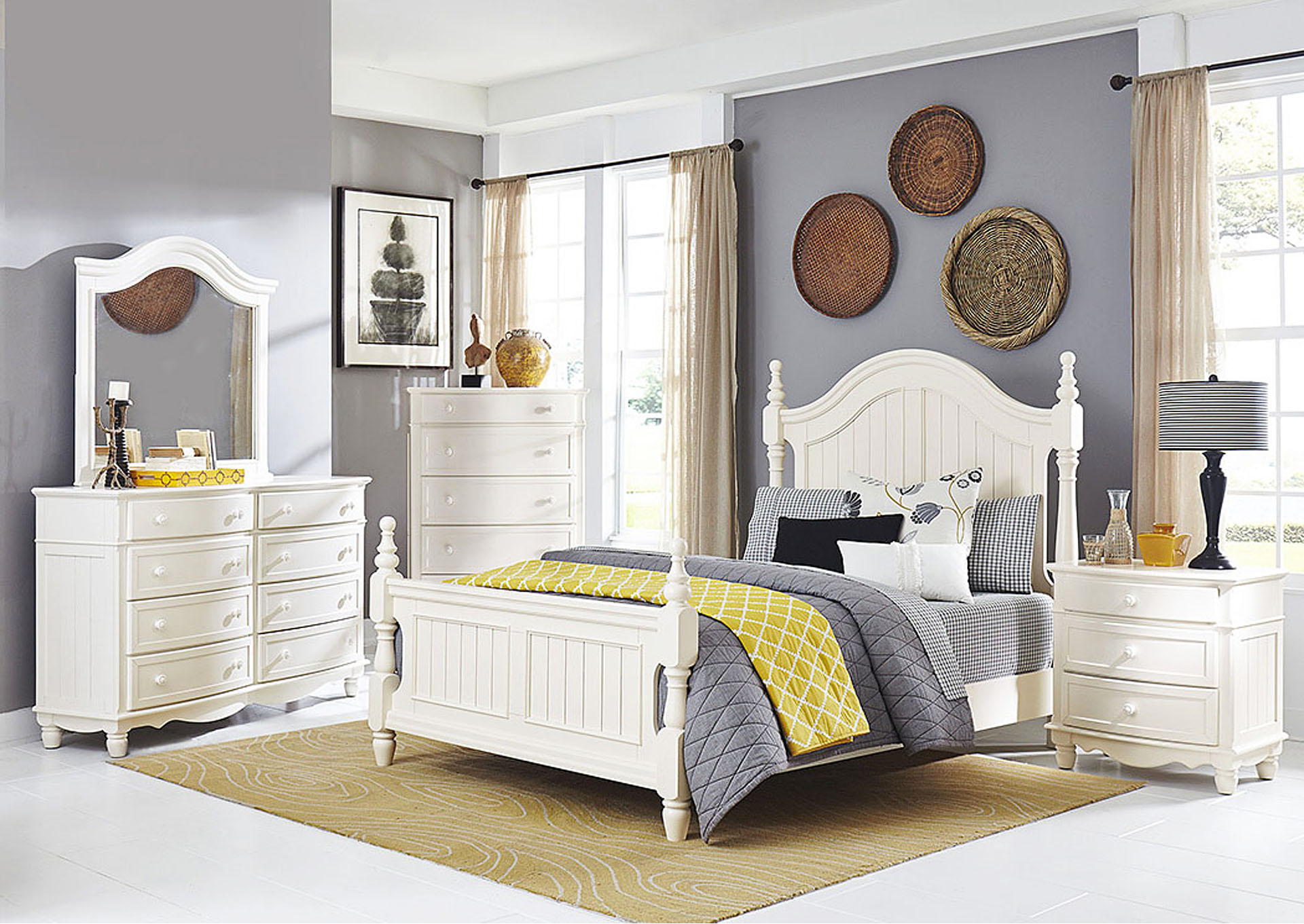 Clementine White Drawer Chest,Homelegance
