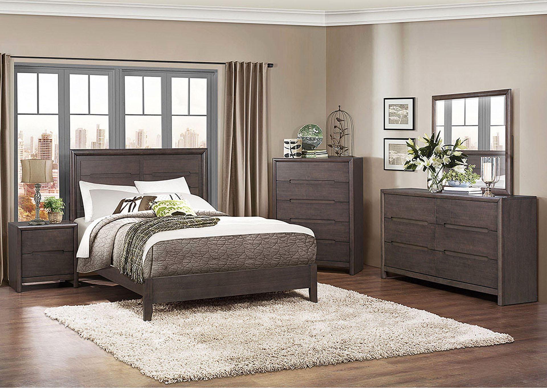 Lavinia Weathered Gray Queen Platform Bed w/ Dresser, Mirror, Drawer Chest and Nightstand,Homelegance