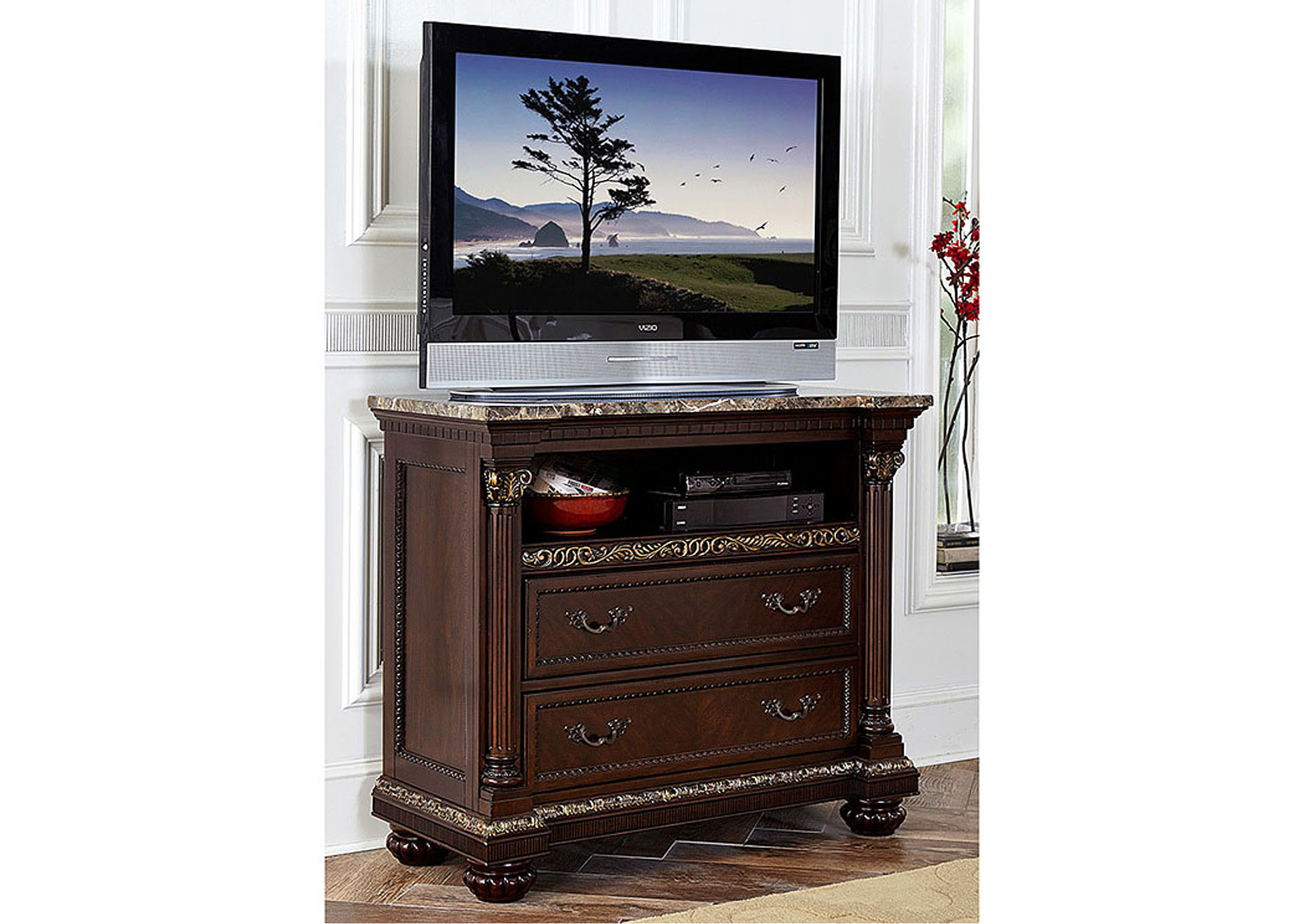 Russian Hill Warm Cherry TV Chest,Homelegance