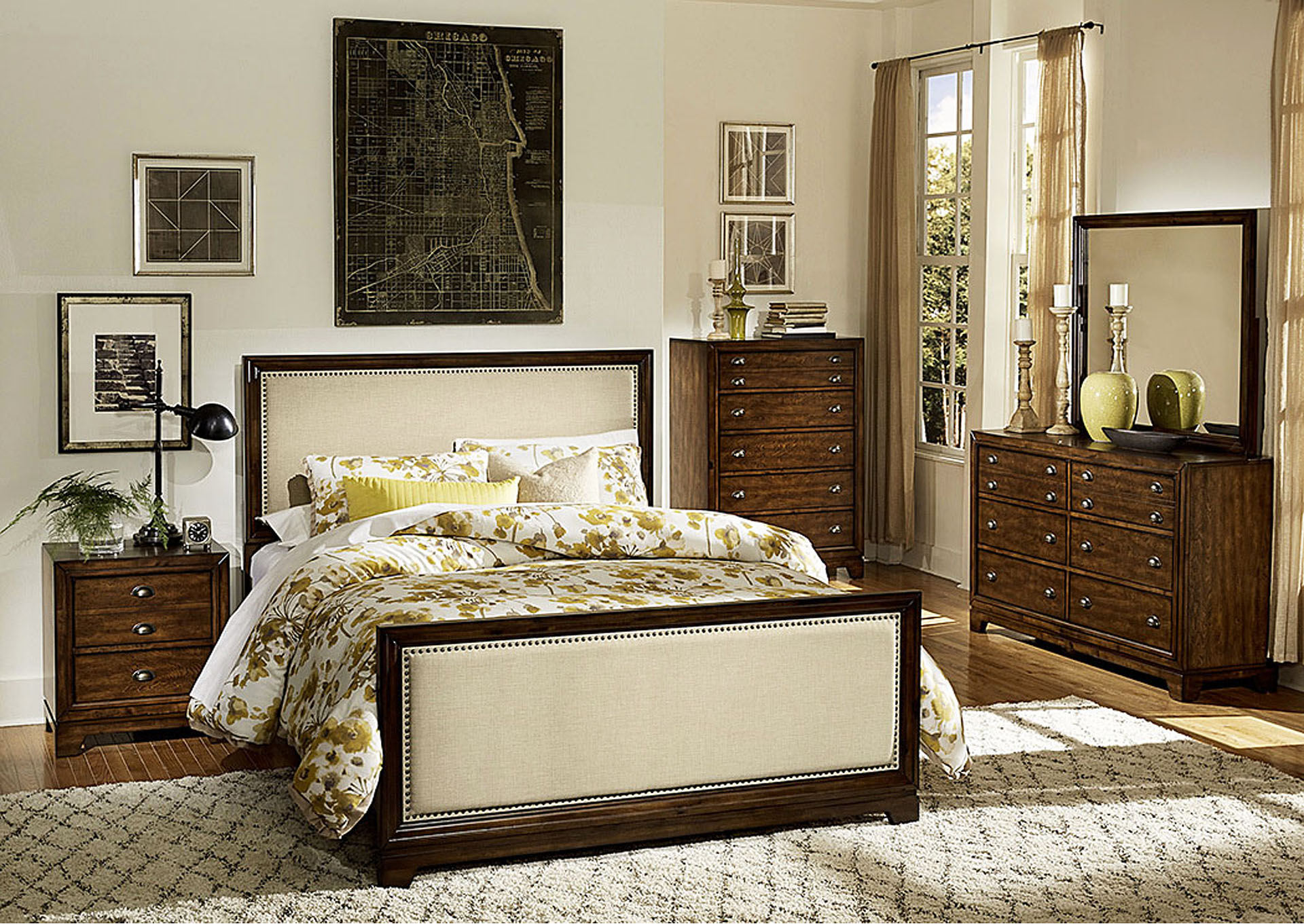 Bernal Heights Warm Cherry Upholstered Eastern King Bed,Homelegance