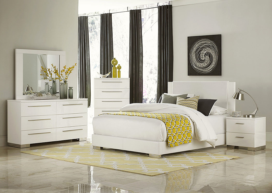 Best Buy Furniture and Mattress Linnea White High Gloss Eastern King ...