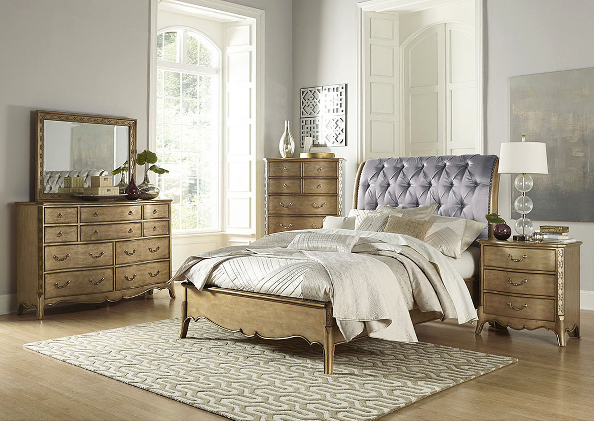 Chambord Gold Upholstered Queen Sleigh Bed,Homelegance