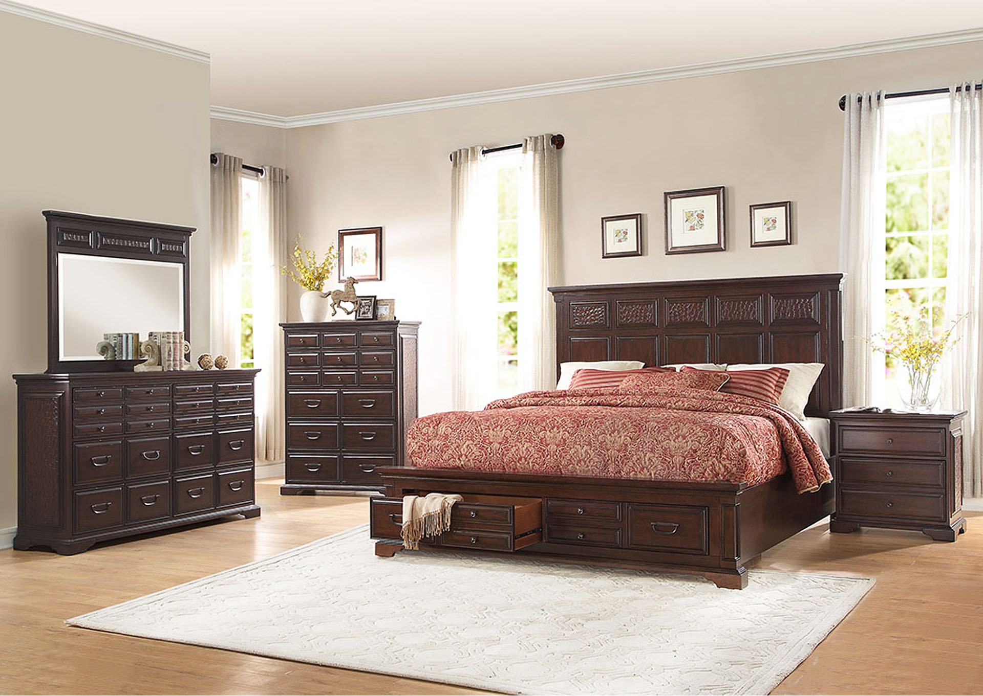 Cranfills Cherry California King Storage Bed ,Homelegance