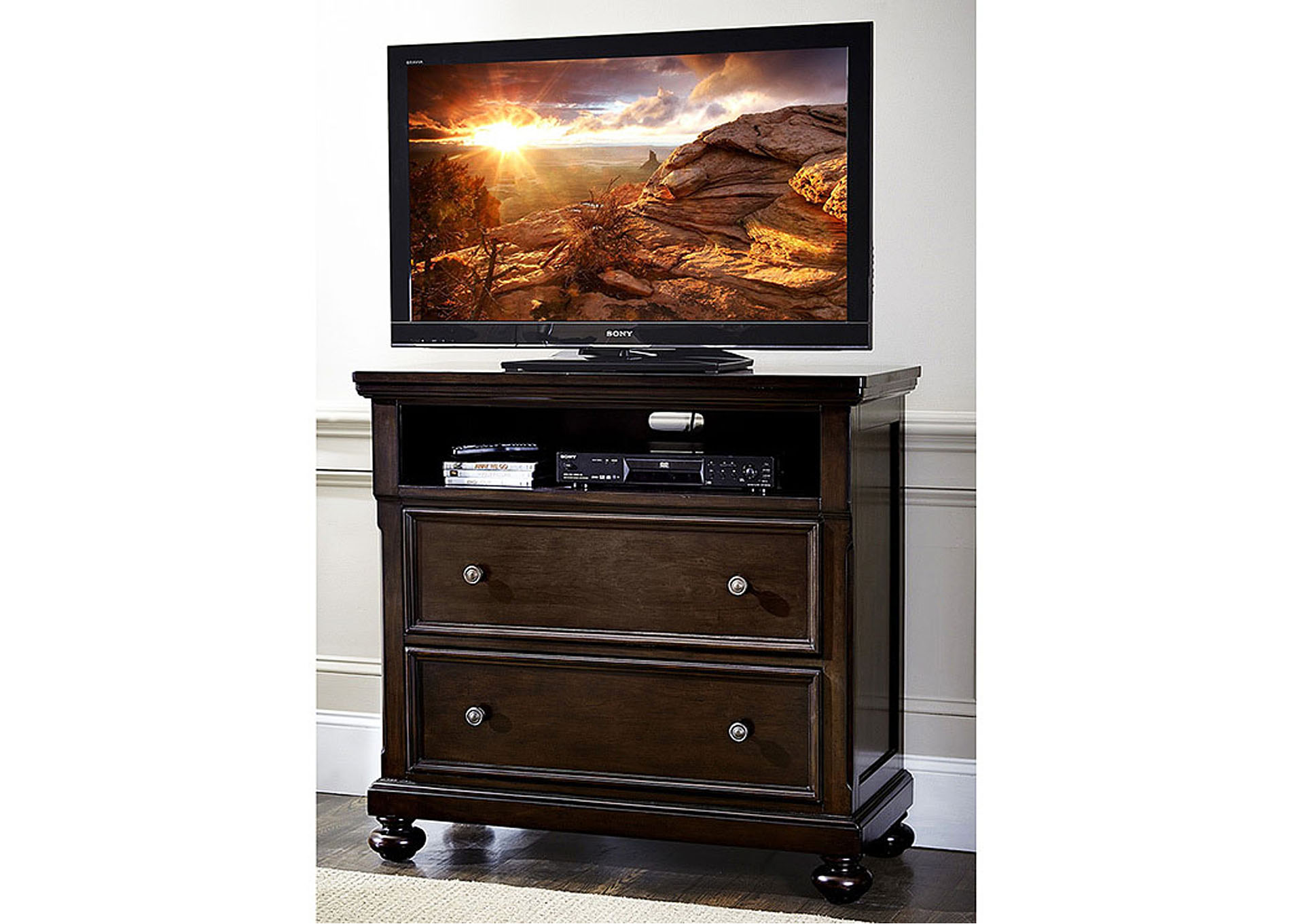 Faust Dark Cherry TV Chest,Homelegance