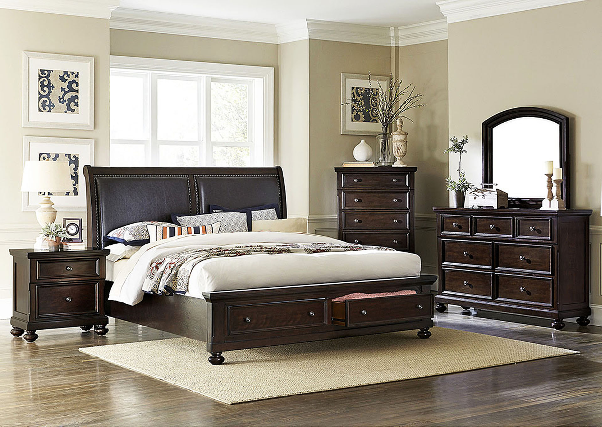 Faust Dark Cherry Queen Platform Storage Bed,Homelegance
