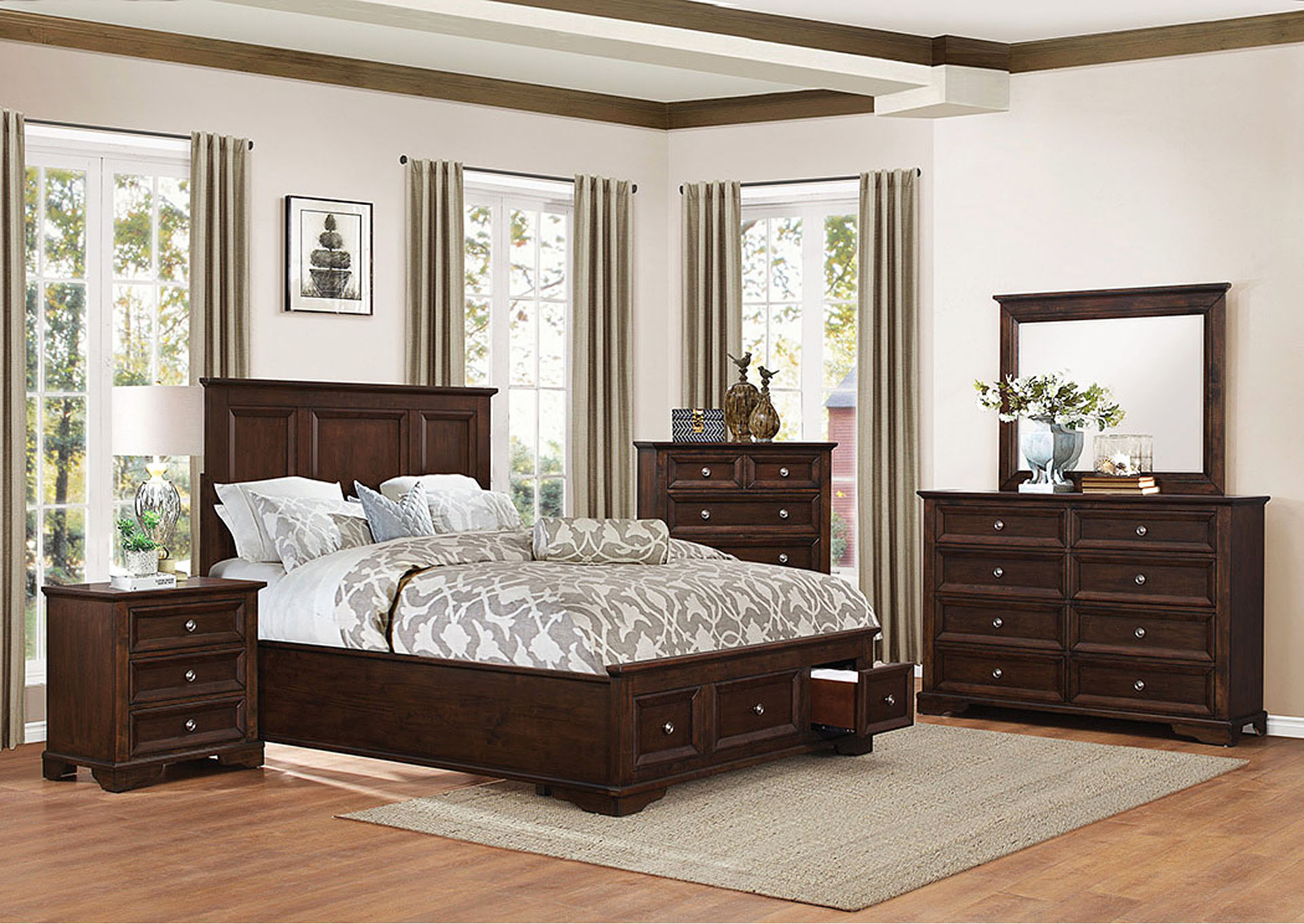Queen Bed w/Footboard Storage,Homelegance