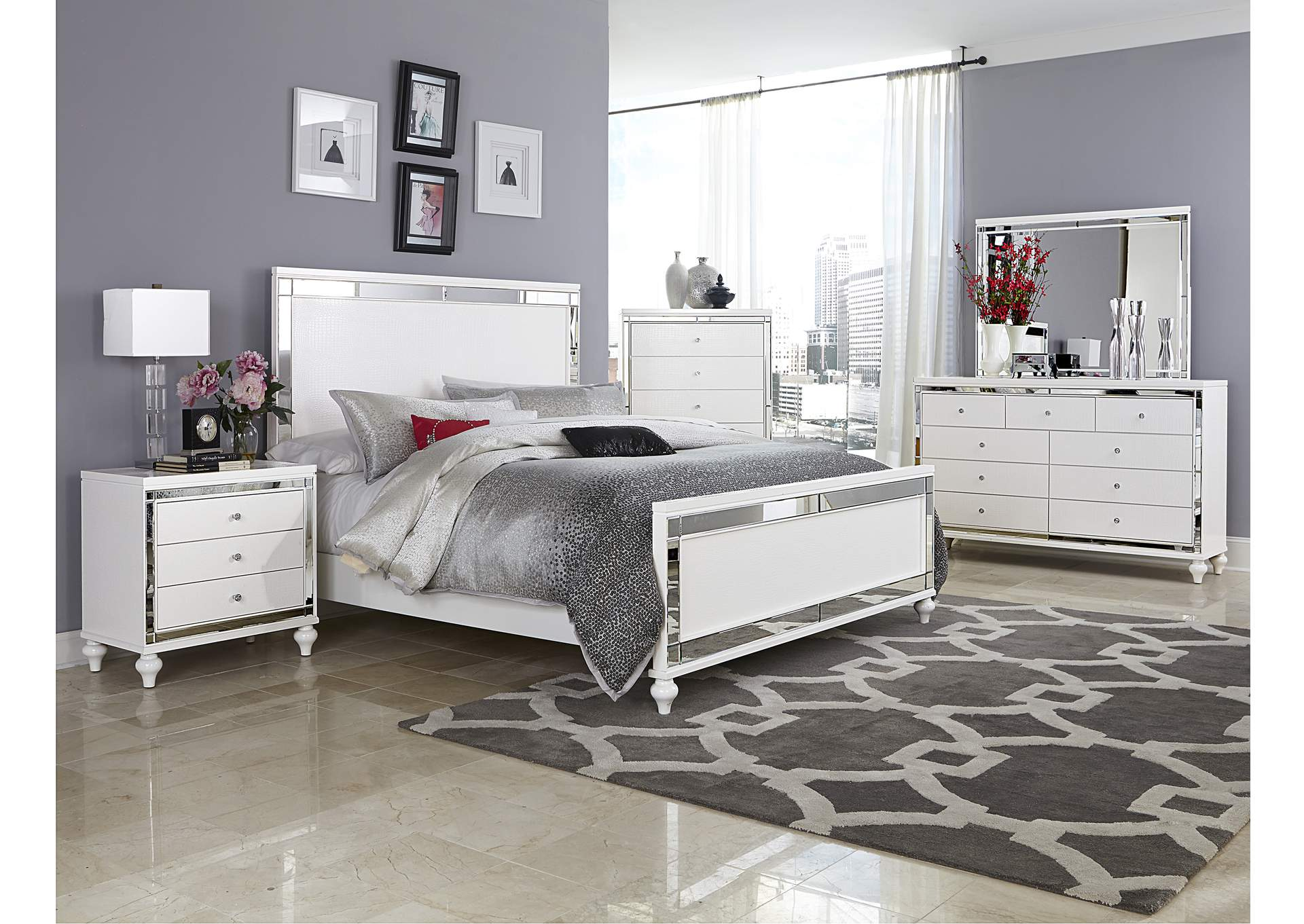 Alonza Bright White California King Panel Bed,Homelegance