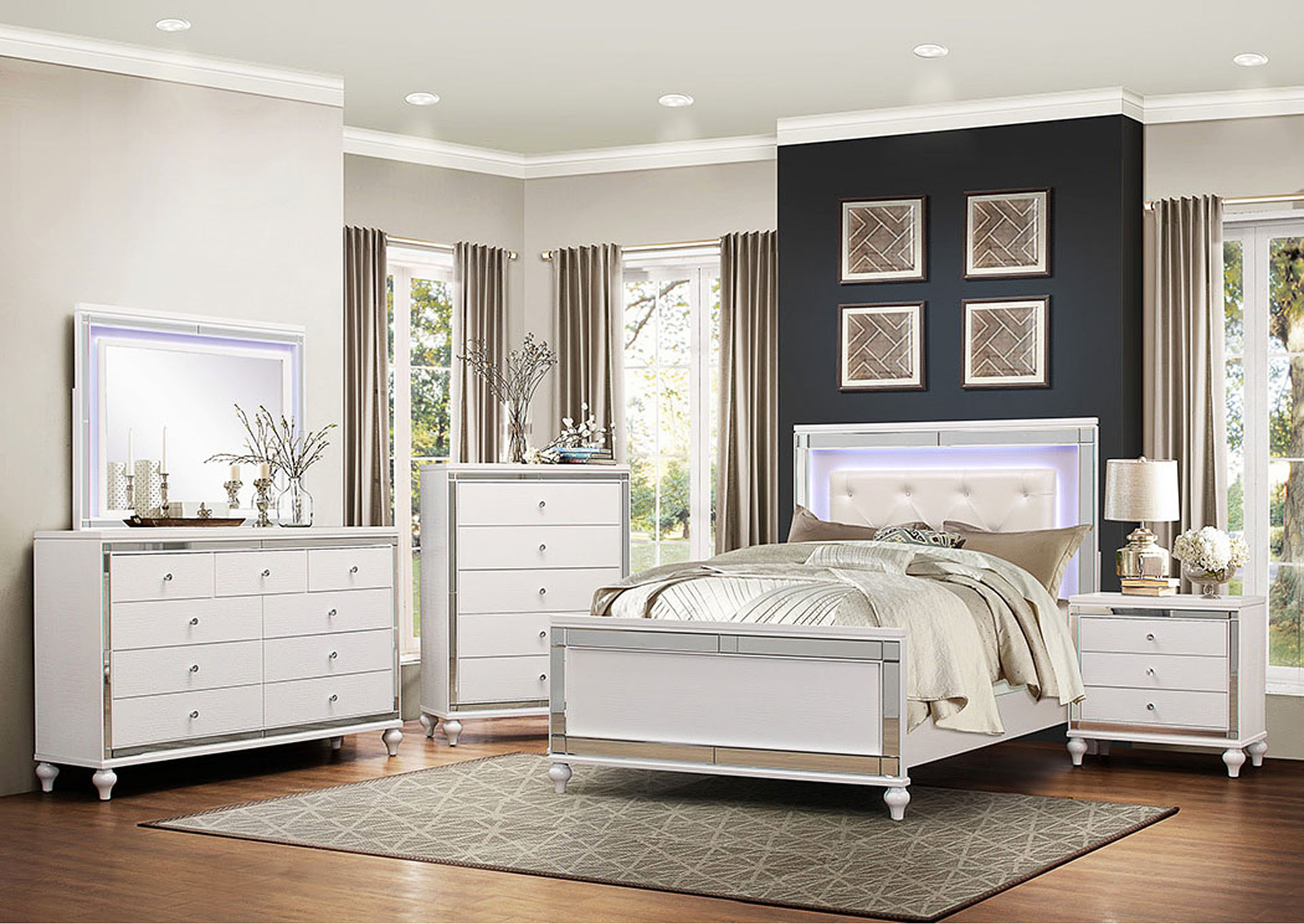 Eastern King Bed w/LED Lighting,Homelegance