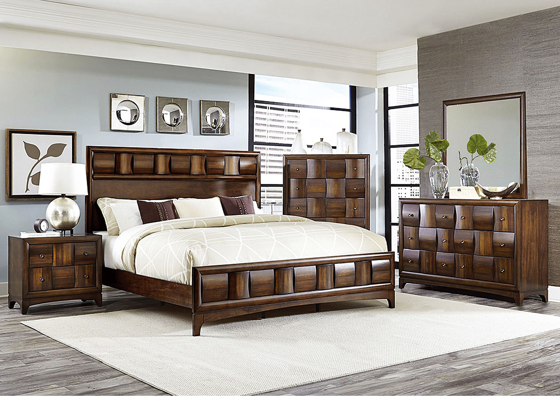 Porter Warm Walnut Queen Panel Bed w/ Dresser, Mirror and 2 Nightstands,Homelegance